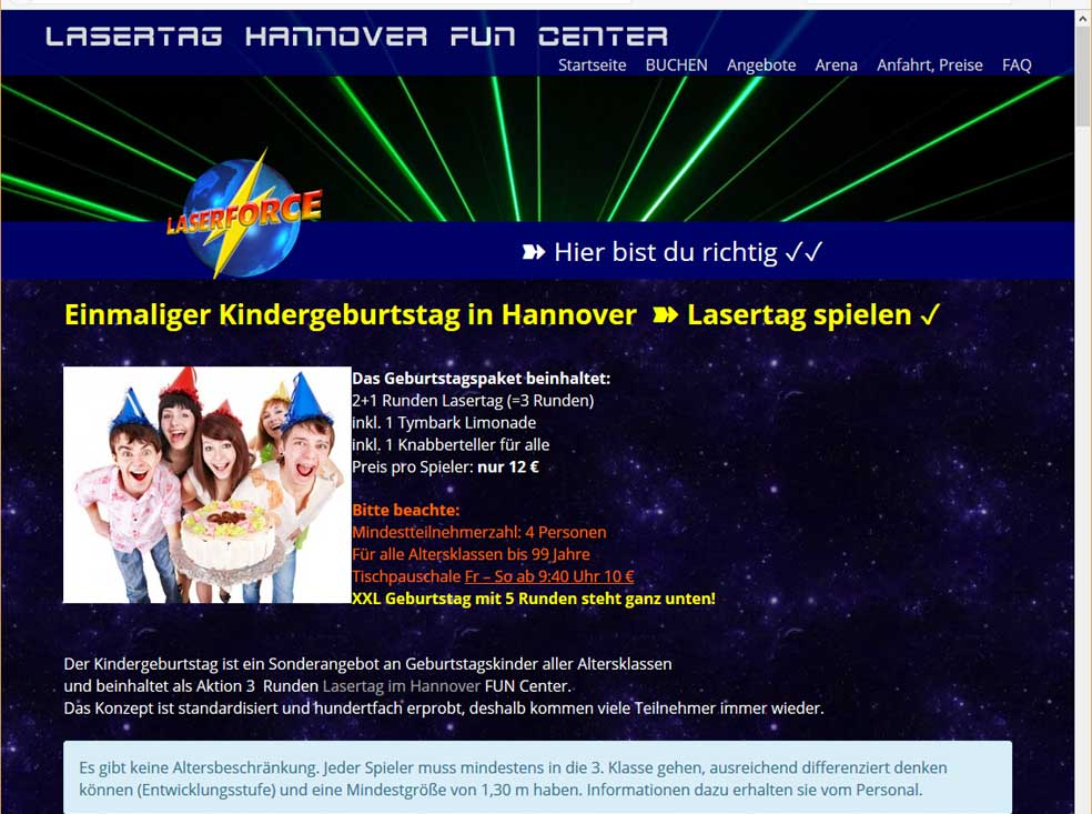 lasertag fun center hannover kindergeburtstag hannover. Black Bedroom Furniture Sets. Home Design Ideas
